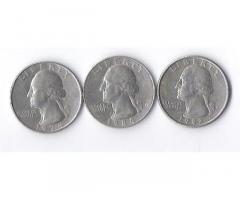 Продам недорого монеты США номиналом 25 центов (quarter dollar).