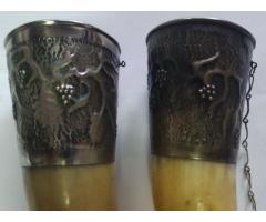Кубок-рог изобилия ручной работы, из натуральной кости буйвола, Кавказ