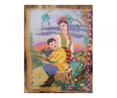 Картина Пара,Вышивка крестиком на мешке