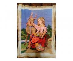 Картина вышита крестиком,Девушка с оленем