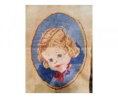 Ребёнок, Старинная вышитая картина крестиком