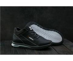 Мужские кожаные зимние кроссовки Adidas Черный