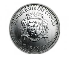 """Продам монету :Конго """"Горилла"""". Серебро. Тираж 100 экземпляров в мире."""