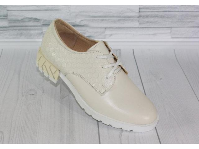 Натуральная кожа. Стильные молочные туфли 1839 - 1/4