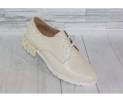 Натуральная кожа. Стильные молочные туфли 1839 - Изображение 1/4