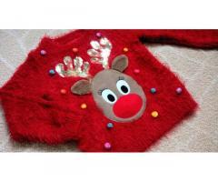 Новогодний рождественский светящийся свитер кофта F&F на 2-3 года травка
