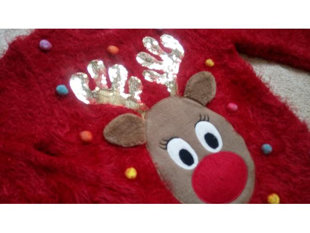 Новогодний рождественский светящийся свитер кофта F&F на 2-3 года травка - 2/11