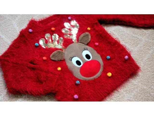 Новогодний рождественский светящийся свитер кофта F&F на 2-3 года травка - 9/11