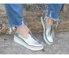 Натуральная кожа. Стильные серебристые туфли на платформе 1847 - Изображение 3/4