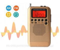 Мини цифровой FM/AM радиоприемник JINSERTA HRD-104 с ЖК-дисплеем + часы с будильником